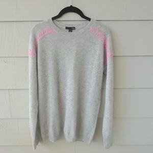 AQUA CASHMERE Gray Sweater Pink Stitching Size XS